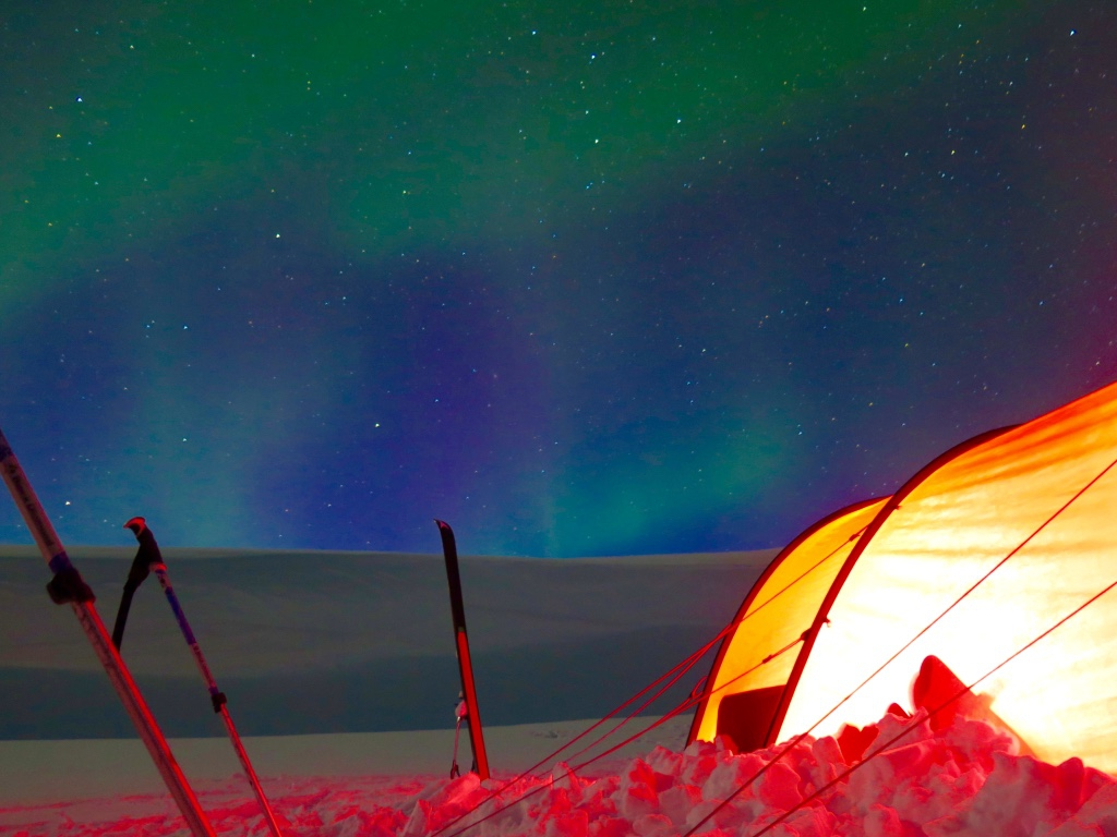 Aurora borealis in Sarek Nationalpark
