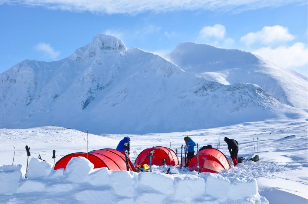Set up camp in Sarek Swedish Lapland