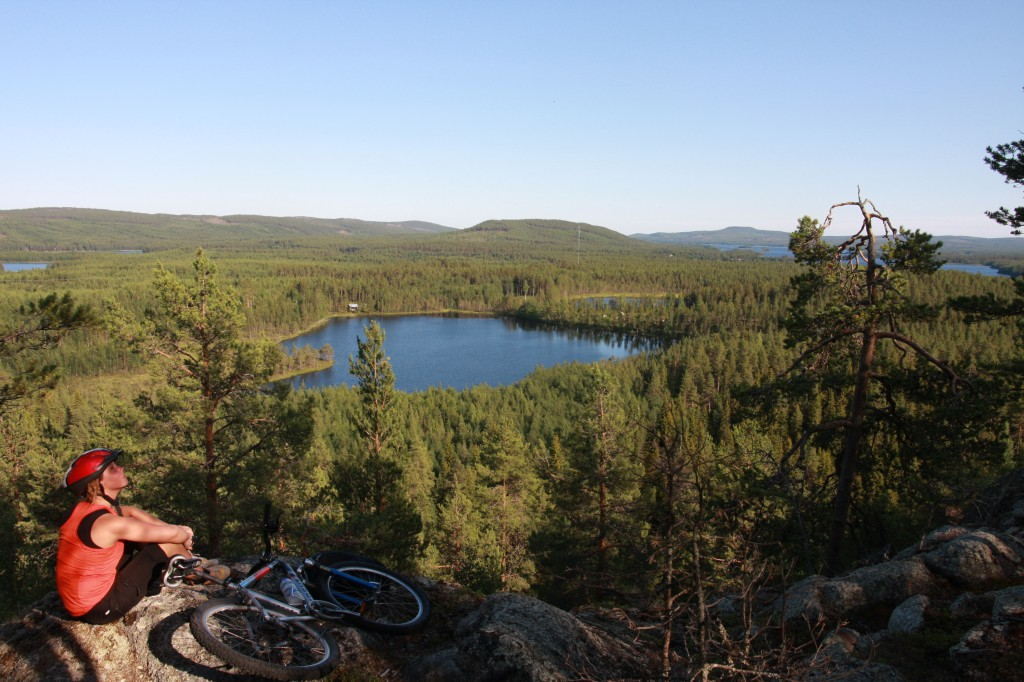 Mountain bike view Råne river valley  Swedish Lapland