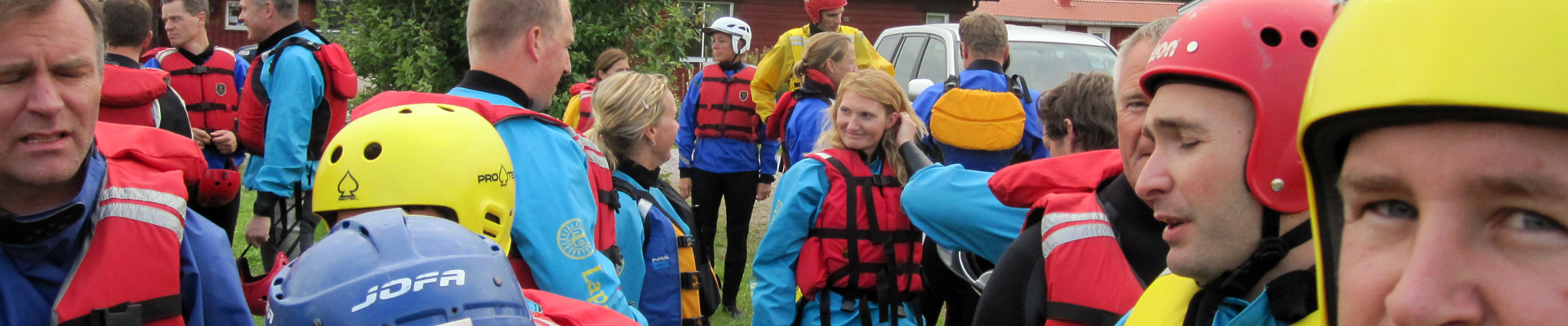 Rafting group in Swedish Lapland